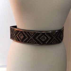 WHBM Beaded Leather Stretch Belt